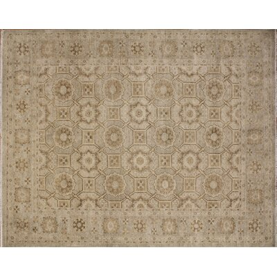 One-of-a-Kind Leann Hand-Knotted Oriental Beige Wool Area Rug