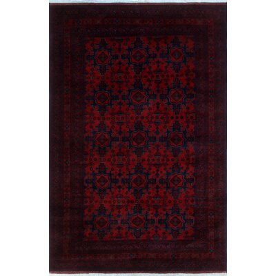 Alban Oriental Hand-Knotted Red Premium Wool Area Rug