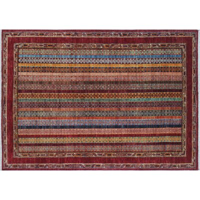 Acer Hand-Knotted Red Area Rug