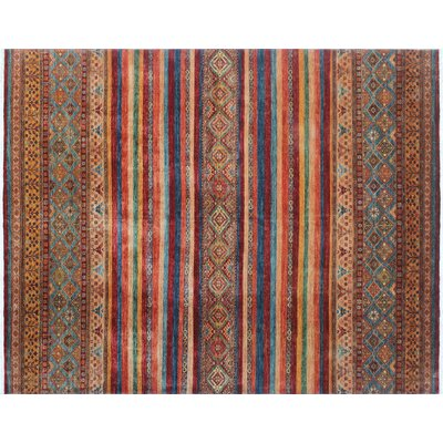 Acer Hand-Knotted Red Fringe Area Rug