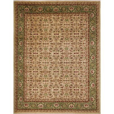 One-of-a-Kind Leann Hand-Knotted Intricate  Beige Wool Area Rug