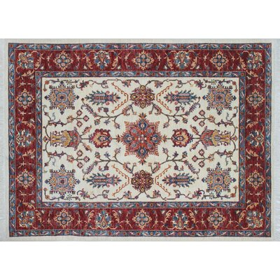One-of-a-Kind Kazak Super Aalam Hand-Knotted Ivory Area Rug