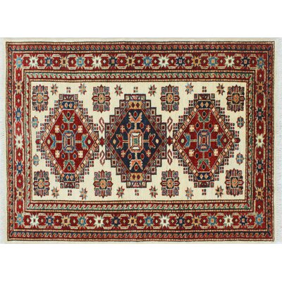 One-of-a-Kind Kazak Super Adeeb Hand-Knotted Ivory Area Rug