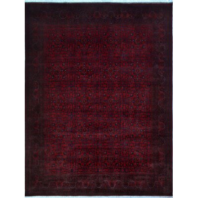 One-of-a-Kind Alban Hand-Knotted Red Geometric Indoor Area Rug