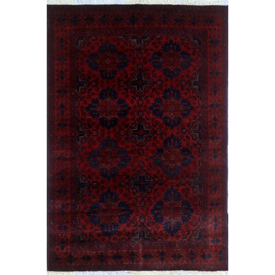 Alban Luxury Hand-Knotted Red Wool Area Rug