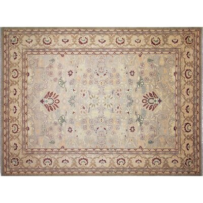 Leann Hand-Knotted Rectangle Light Green Area Rug