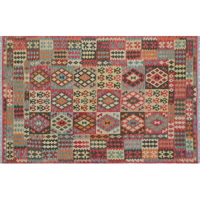 One-of-a-Kind Kilim Mumin Hand-Woven Red Area Rug
