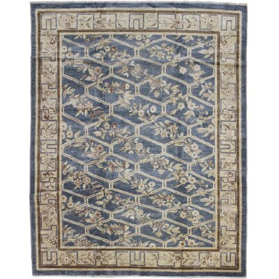 One-of-a-Kind Leann Hand-Knotted Rectangle Light Blue Indoor Area Rug