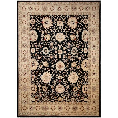 One-of-a-Kind Lahore Leyla Hand-Knotted Black Area Rug