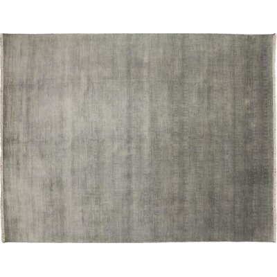 One-of-a-Kind Grass Super Fine Dasha Hand-Knotted Gray Area Rug
