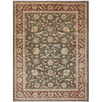 Leann Hand-Knotted Green Wool Area Rug