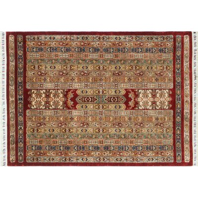 Acer Hand-Knotted Rectangle Red Oriental Area Rug