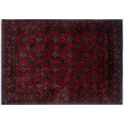Alban Border Hand-Knotted Rectangle Red Area Rug