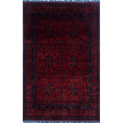 Alban Hand-Knotted Rectangle Red Indoor Fringe Area Rug