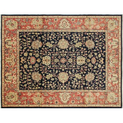 One-of-a-Kind Leann Hand-Knotted Oriental Blue Wool Indoor Area Rug