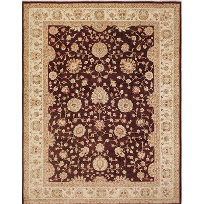 One-of-a-Kind Leann Dark Hand-Knotted Red Area Rug