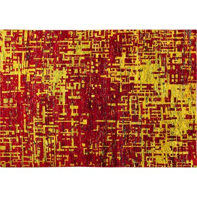 Sari Silk Brittney Hand-Knotted Red Area Rug