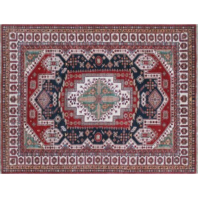 Kazak Super Aaban Hand-Knotted Red Area Rug