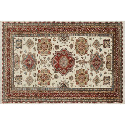 One-of-a-Kind Kazak Super Ajmal Hand-Knotted Ivory Area Rug