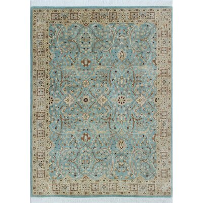 Tabriz Azlan Hand Knotted Wool Light Blue Area Rug Rug Size: Rectangle 41 x 57