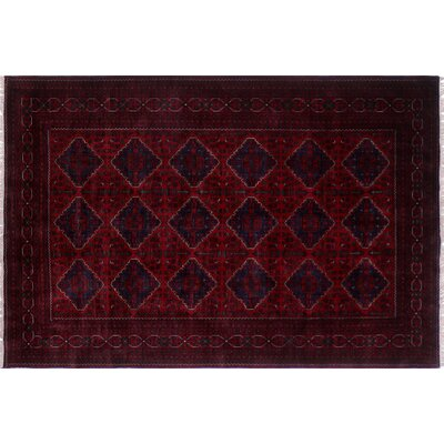 One-of-a-Kind Alban Tribal Geometric Hand-Knotted Red Area Rug