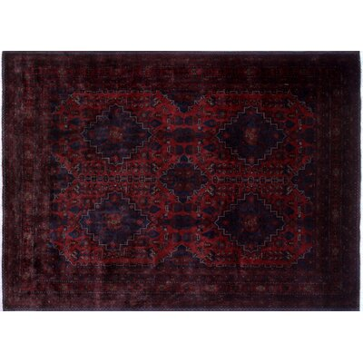 One-of-a-Kind Alban Border Geometric Hand-Knotted Red Premium Wool Area Rug