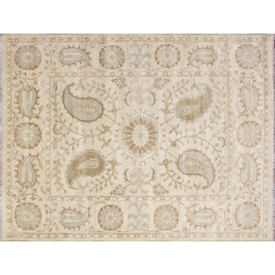 One-of-a-Kind Leann Hand-Knotted Suzani Ivory Area Rug