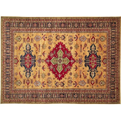One-of-a-Kind Kazak Super Zineb Hand-Knotted Gold Area Rug
