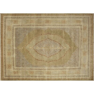 Versailles Sherwin Hand Knotted Wool Gold Area Rug Rug Size: Rectangle 92 x 12