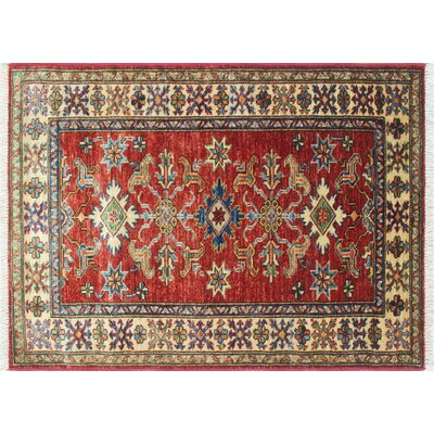 One-of-a-Kind Kazak Super Ghani Hand-Knotted Red Area Rug