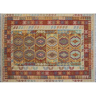 One-of-a-Kind Kilim Aliya Hand-Woven Ivory Area Rug