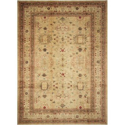 One-of-a-Kind Leann Hand-Knotted Rectangle Beige Wool Area Rug