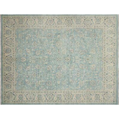 One-of-a-Kind Leann Hand-Knotted Teal Green Area Rug
