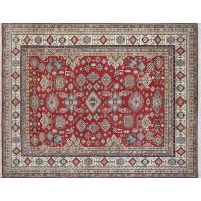 One-of-a-Kind Kazak Super Mughni Hand-Knotted Red Area Rug