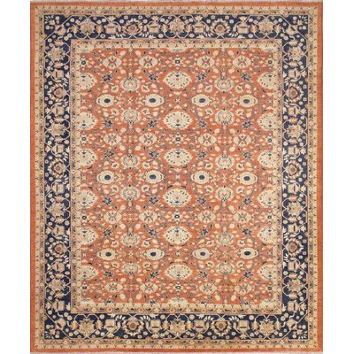 Leann Hand-Knotted Rectangle Rust Area Rug