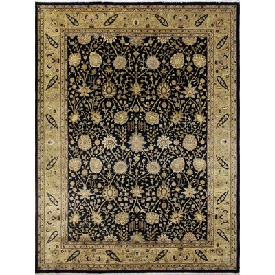 Leann Hand-Knotted Black Area Rug