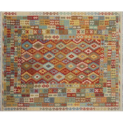 One-of-a-Kind Kilim Alfia Hand-Woven Ivory Area Rug