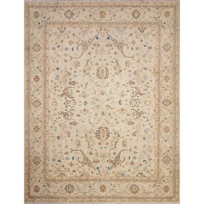 Leann Hand-Knotted Oriental Rectangle Ivory Wool Indoor Area Rug