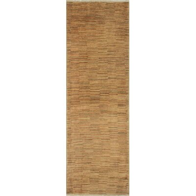 Leann Hand-Knotted Runner Beige Area Rug