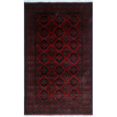 One-of-a-Kind Alban Hand-Knotted Red Geometric Area Rug