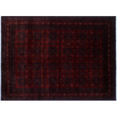 Alban Geometric Hand-Knotted Red Wool Area Rug