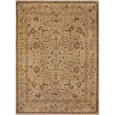 One-of-a-Kind Leann Low-Pile Hand-Knotted Light Tan Area Rug