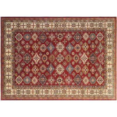 One-of-a-Kind Kazak Super Zee Hand-Knotted Red Area Rug N1386