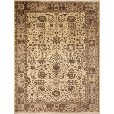 One-of-a-Kind Leann Hand-Knotted Oriental Beige Wool Indoor Area Rug