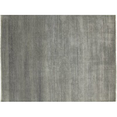 One-of-a-Kind Grass Super Fine Doniyor Hand-Knotted Gray Area Rug