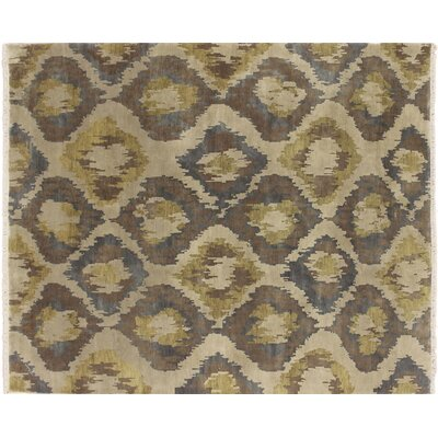 One-of-a-Kind Modern Alborz Hand-Knotted Beige Area Rug