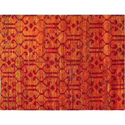 Sari Silk Eduardo Hand-Knotted Rust Area Rug