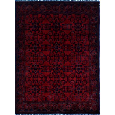 Alban Hand-Knotted Rectangle Red Indoor Border Area Rug