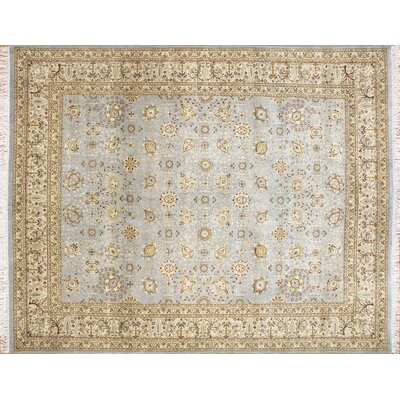 Peshawar Mahtab Hand Knotted Wool Light Blue Area Rug Rug Size: Rectangle 8'2 x 10'3