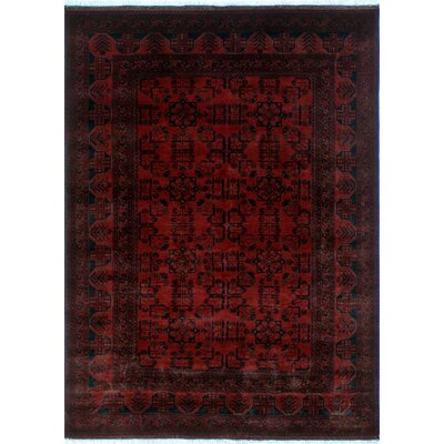 One-of-a-Kind Alban Hand-Knotted Rectangle Red Premium Wool Area Rug